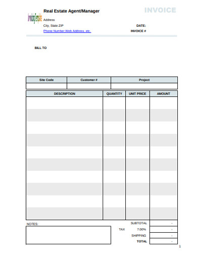real estate manager invoice