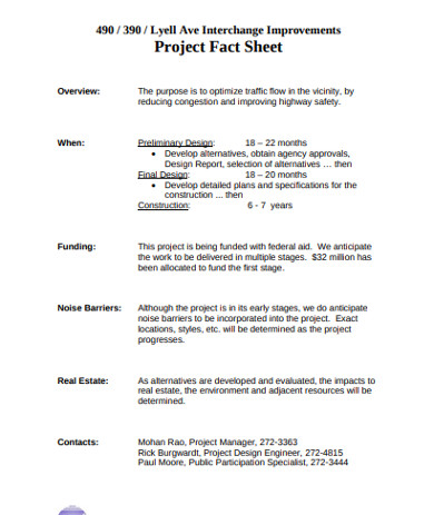 real estate project fact sheet
