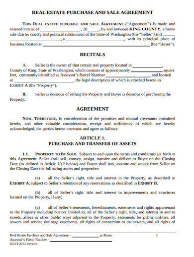 real estate purchase and sell agreement