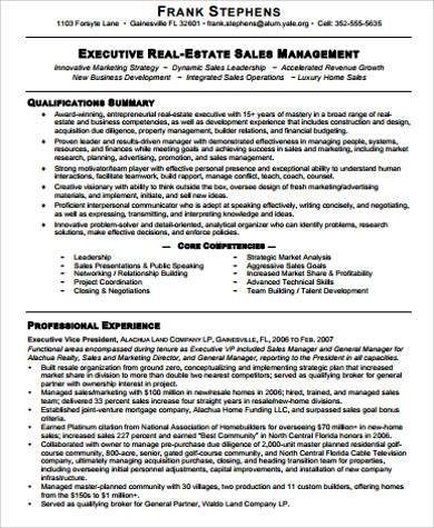 real estate sales resume example