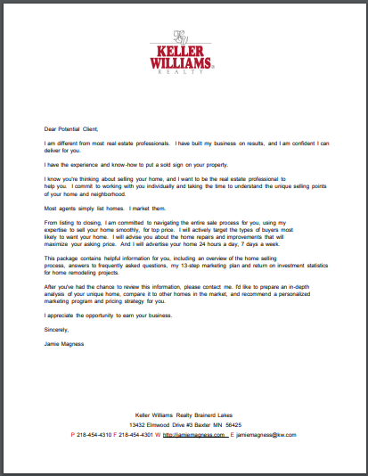 realtors follow up letter