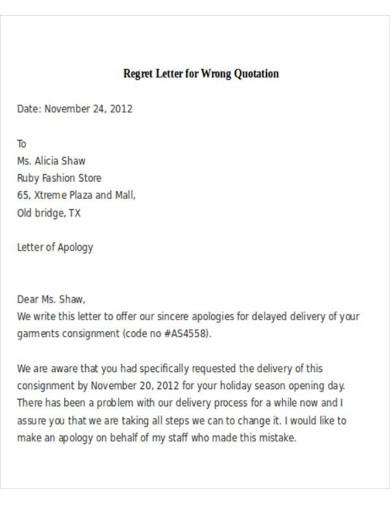 regret letter for wrong quotation