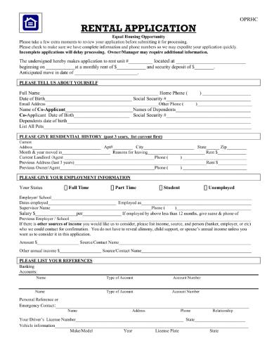 rental application form2