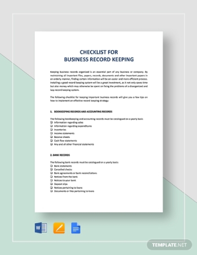rental business record keeping checklist
