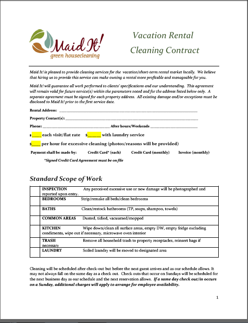 rental cleaning contract