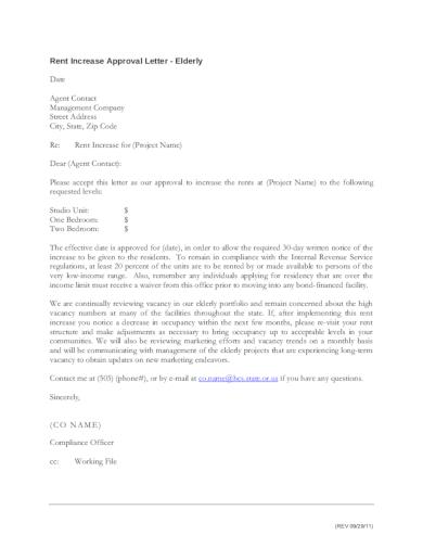 rental increase approval letter