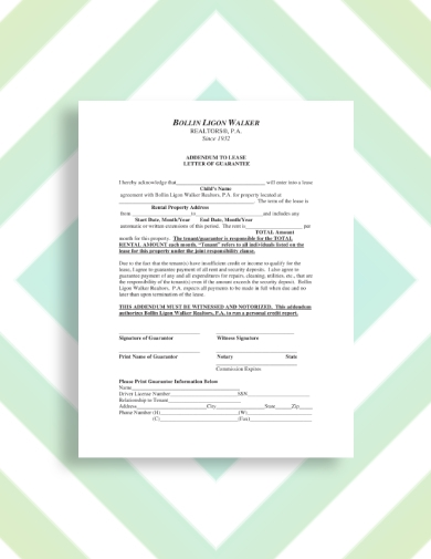 rental property guarantor letter
