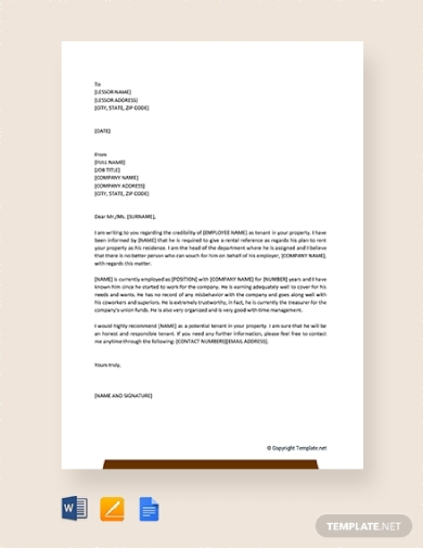 rental reference letter from employer