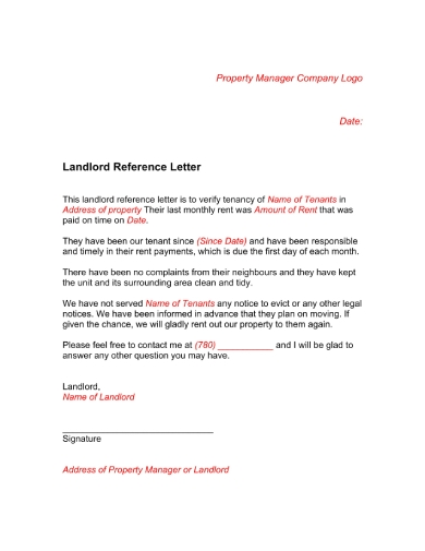 rental reference letter from landlord