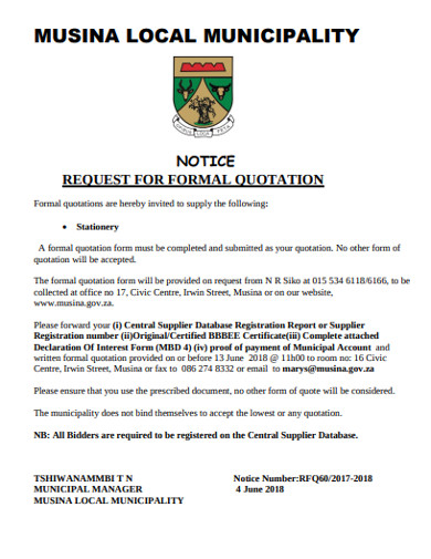 request notice for formal quotation