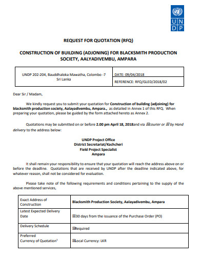 request quotation for building construction