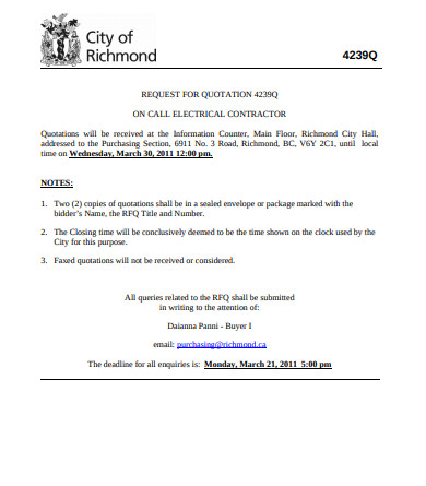 request for electrical contractor quotation
