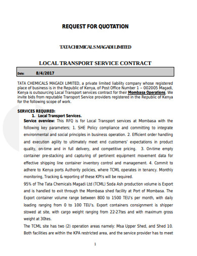 request for local transport quotation