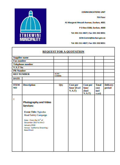 request for photography quotation