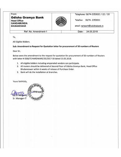 request for quotation letter