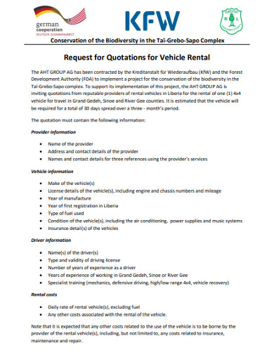 request for quotations for vehicle rental