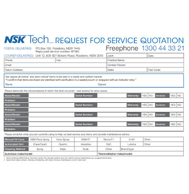 request for service quotation