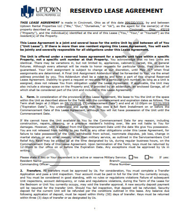 reserved property lease agreement
