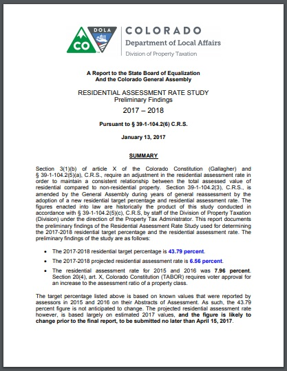 residential assessment rate study