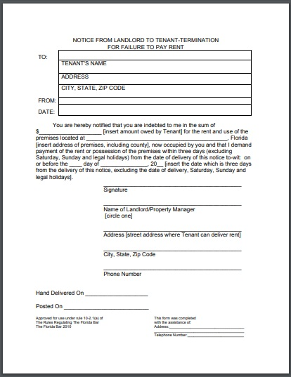 residential eviction notice for due on rent