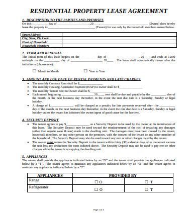 residential property lease agreements
