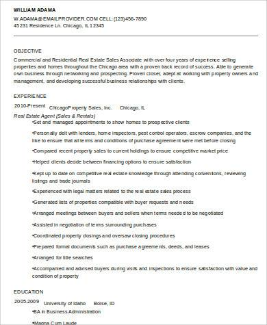 residential real estate agent resume