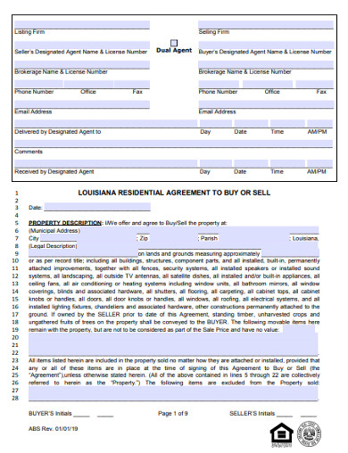 residential real estate buy sell agreement form