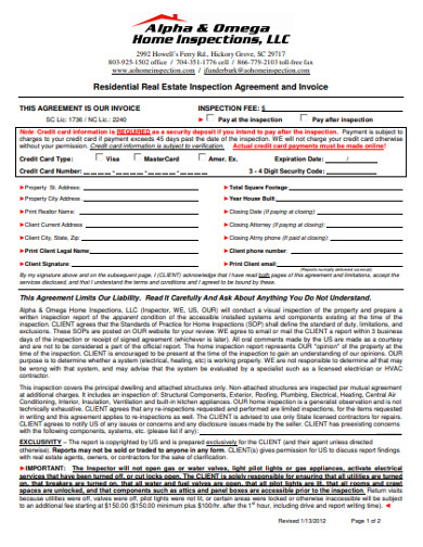 residential real estate inspection agreement and invoice