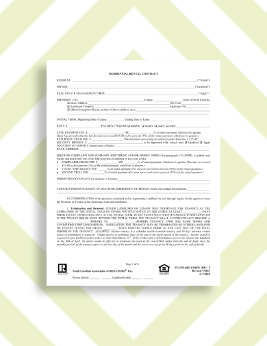 residential rental contract