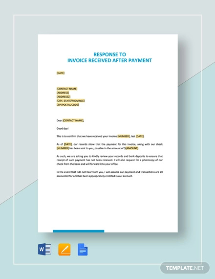 response to invoice received after payment template
