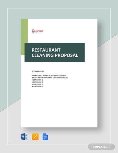 restaurant cleaning bid proposal template