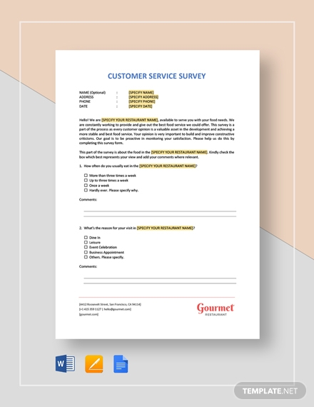 restaurant customer service survey template