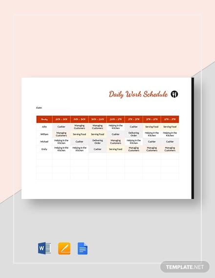 restaurant daily work schedule