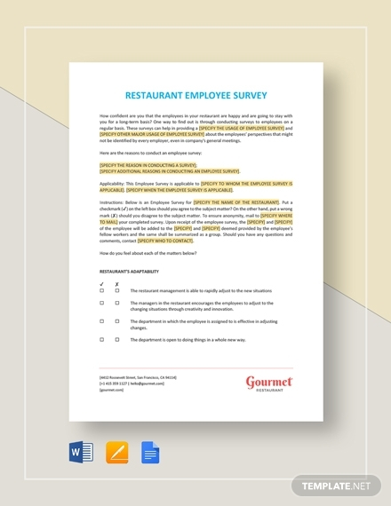 restaurant employee survey template