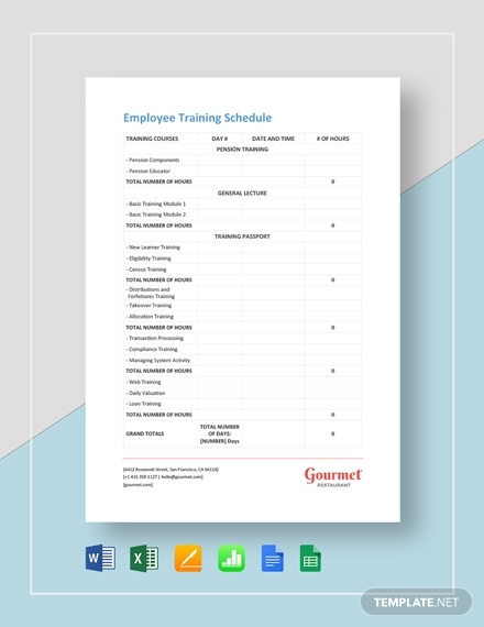 restaurant employee training schedule