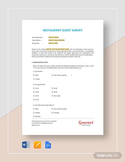 restaurant guest survey template