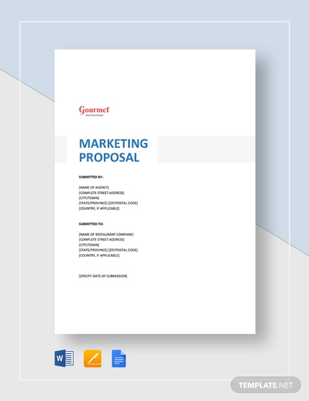restaurant marketing proposal template