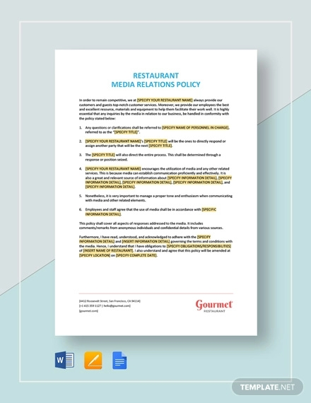 restaurant media relations policy template