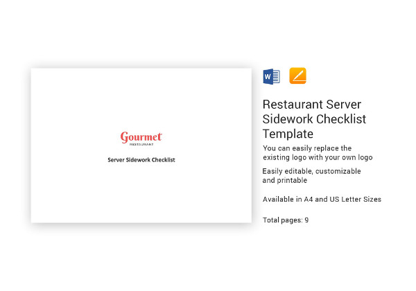 restaurant server sidework checklist template