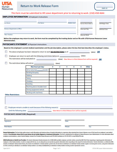 return to work release form