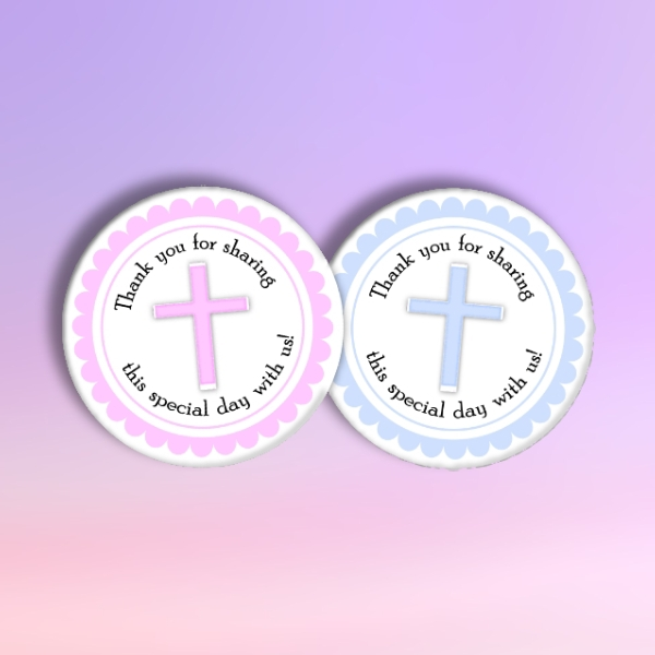 round baptism tag
