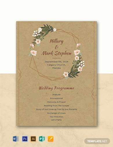 rustic church wedding program