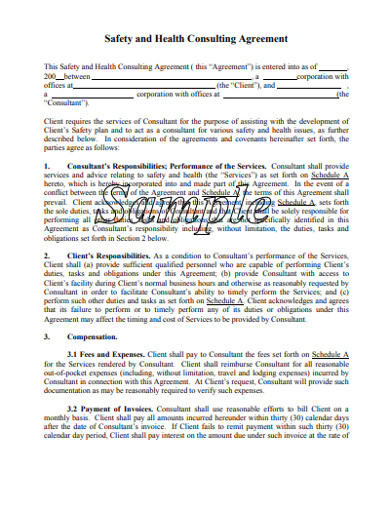 safety and health consultant agreement