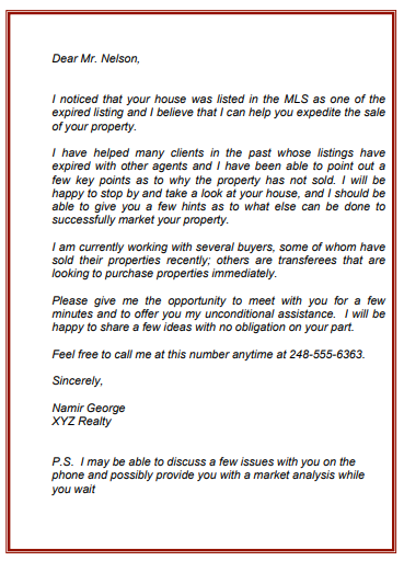 sample letter sent to expired listings