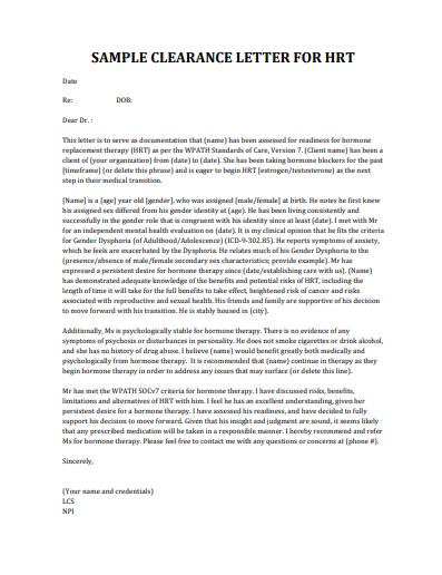 sample medical clearance letter for hrt