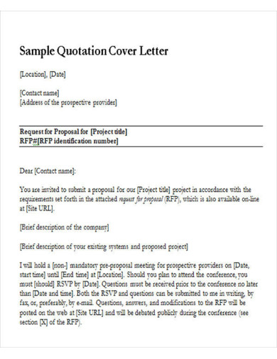 sample quotation cover letter