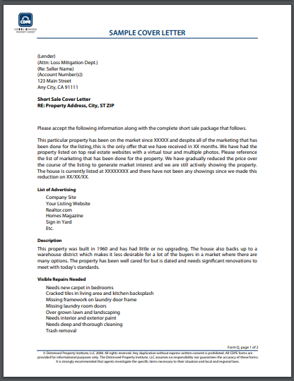 sample real estate cover letter
