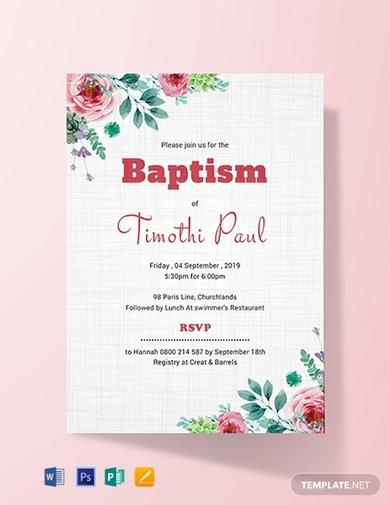simple baptism invitation card
