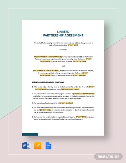 simple limited partnership agreement template1