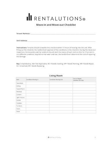 simple move in and move out checklist